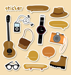 Sticker object boy smart camera guitar shoe skateb vector