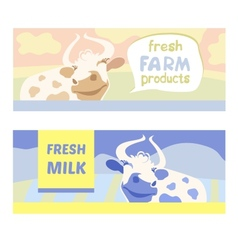 Fresh farm products happy cow on meadow editable vector