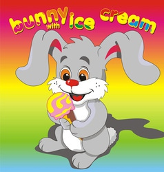 Bunny ice cream grey vector