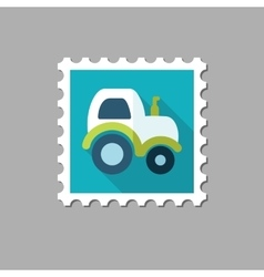 Tractor flat stamp with long shadow vector