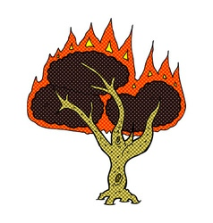 Comic cartoon burning tree vector