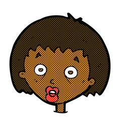 Comic cartoon shocked woman vector