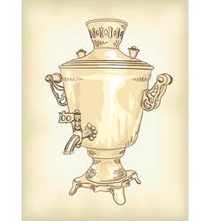 Russian samovar vintage vector