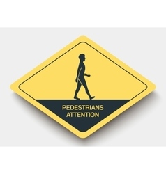 Icon pedestrians attention and shadow vector