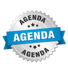 Agenda 3d silver badge with blue ribbon vector