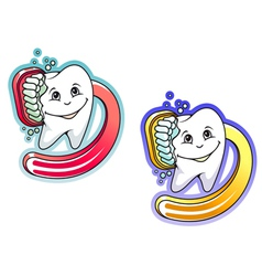 Toothbrush and paste in cartoon style vector image