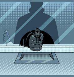 Bank robbery with gun pop art vector