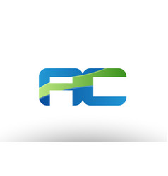 Blue green ac a c alphabet letter logo vector