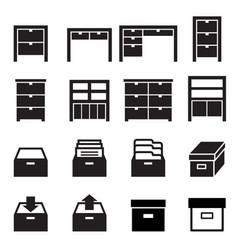 cabinet storage icon set vector image vector image