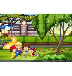 Children working in the park vector image