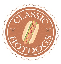 Classic hotdogs sandwich label stamp design vector