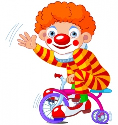 Clown on three wheeled bicycle vector