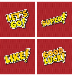 comic cartoon text set vector image vector image