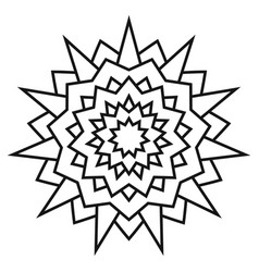 Ethnic circular symmetrical pattern black and vector
