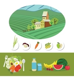 Farm and food grown on it vector