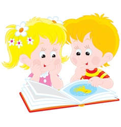 girl and boy read a book vector image
