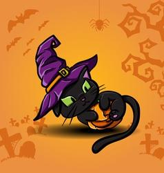 Halloween black cat and pumpkin vector image