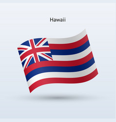 hawaii flag waving form vector image vector image