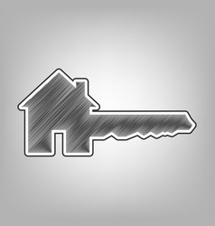 Home key sign pencil sketch imitation vector