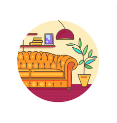 Interior with furniture vector