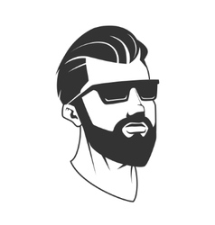 Man with beard hipster barbershop emblem vector