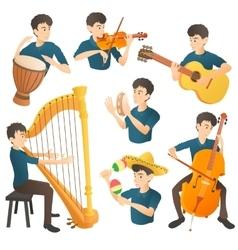 Musician concept set cartoon style vector
