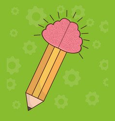 Pencil with brain icon vector