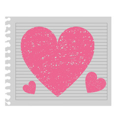 Pink heart in the notebook paper vector