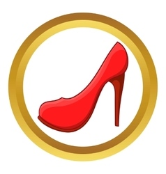 Red high heel shoe icon vector