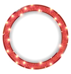 Round red frame with lights on a light background vector