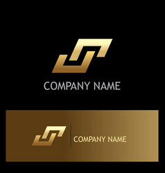 shape gold letter s square logo vector image