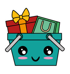 shopping basket with gift and bag kawaii character vector image