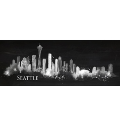 Silhouette chalk Seattle vector image vector image