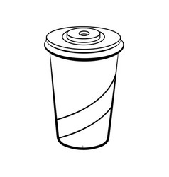 Sketch soda glass plastic vector