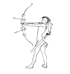 Sports archery silhouettes vector image vector image