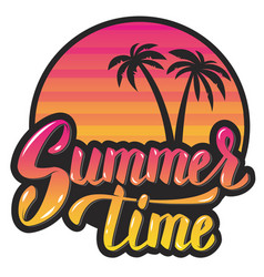 summer timeevening sun and palm trees hand vector image vector image