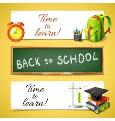 Time to learn horizontal banners vector image