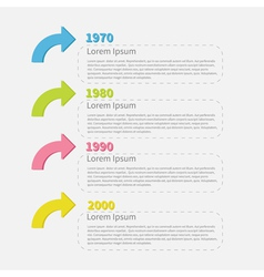 Timeline infographic with colored arrows and text vector