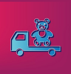 Truck with bear blue 3d printed icon on vector