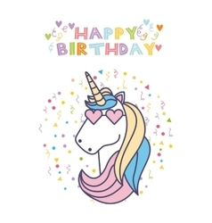 Unicorn birthday card vector