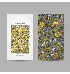 Vintage business cards floral honey design vector image