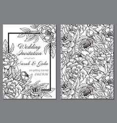Wedding invitation with black and white peony vector