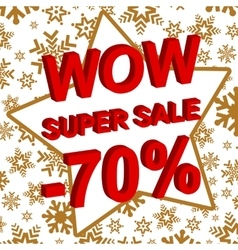 Winter sale poster with wow super sale minus 70 vector