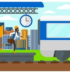Woman running along the platform vector image vector image