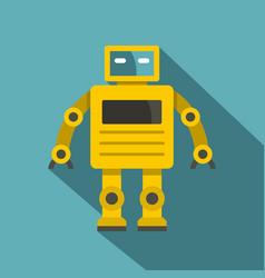 Yellow humanoid robot icon flat style vector
