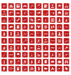 100 officer icons set grunge red vector