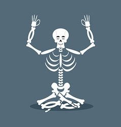 Skeleton meditating Dead yoga Status of nirvana vector image