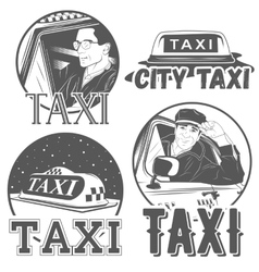 Collection of retro taxi logotypes vector image