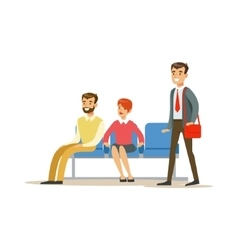 Three person waiting in queue bank service vector