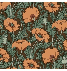 Retro pattern of red poppies vector